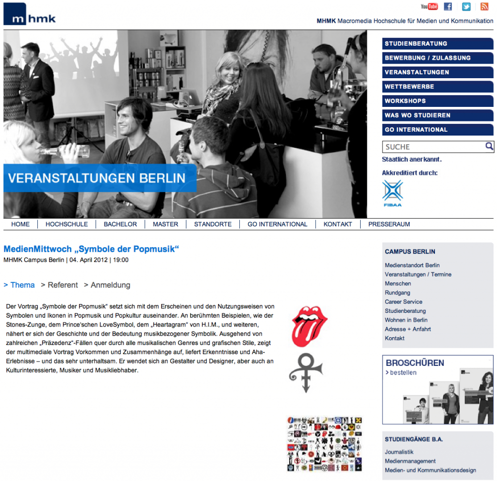Screenshot MHMK Ankündigung Pop-Symbole-Vortrag hest April 2012