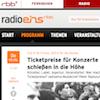 Screenshot RadioEIns Ticketpreise (Ausschnitt)